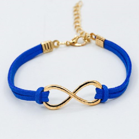 Plated Infinity Velvet Suede Bracelet *BLUE*