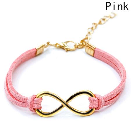 Plated Infinity Velvet Suede Bracelet *Pink*