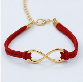 Plated Infinity Velvet Suede Bracelet *RED* (2 options)