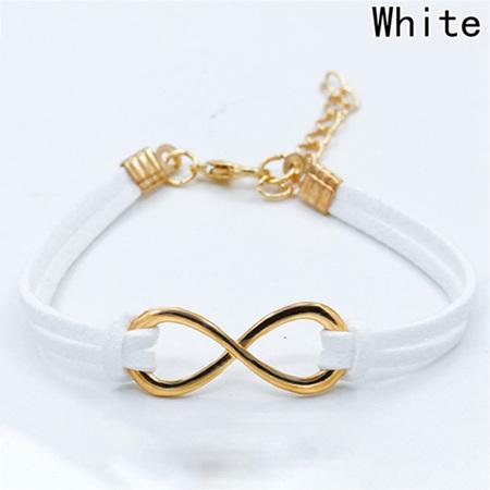 Plated Infinity Velvet Suede Bracelet *White*