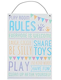 Play Room Rules Tin Sign