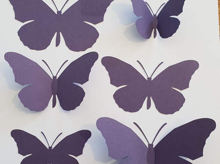 Plum purple paper butterflies