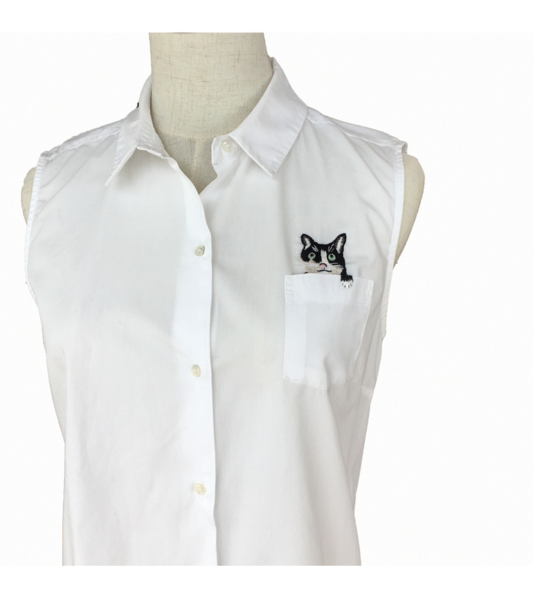 pocket cat embroidered shirt