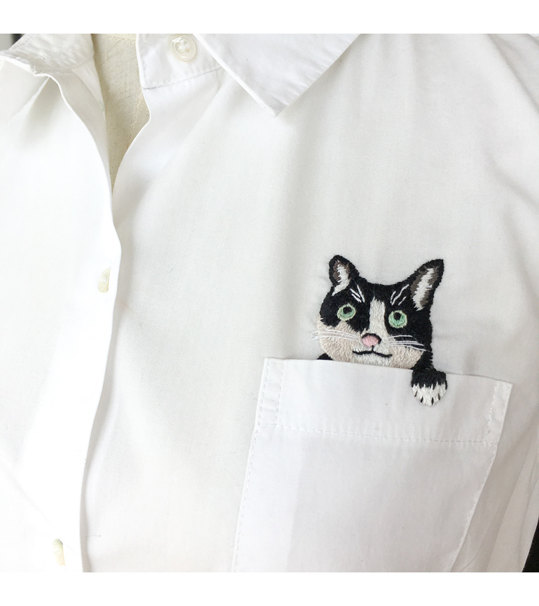 pocket cat embroidered shirt
