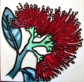 Pohutukawa 15x15cm New Zealand Ceramic Art Tile