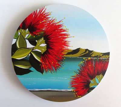Pohutukawa Wall Art Circle NZ24