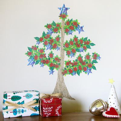 Pohutukawa Christmas tree wall decal