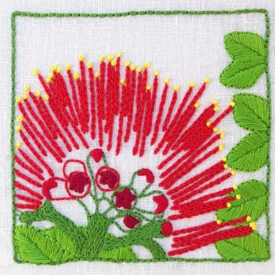 pohutukawa embroidery kit
