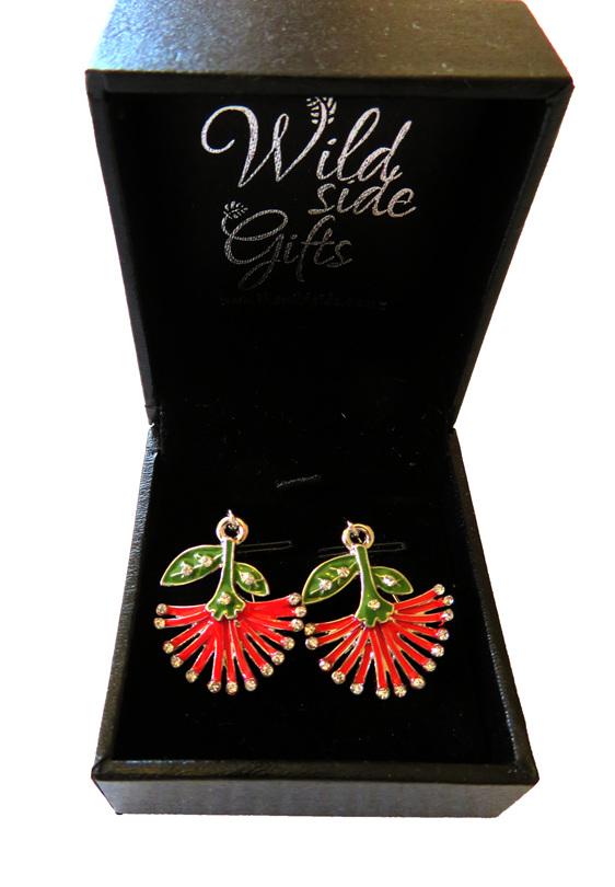 Pohutukawa flower drop earrings