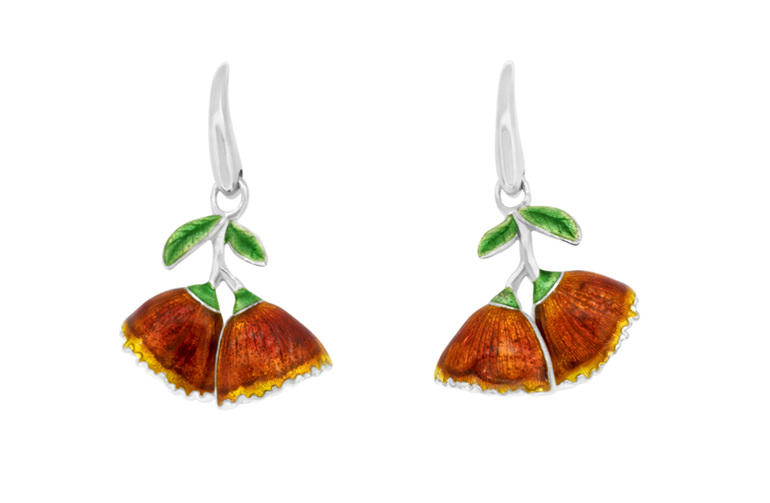 Pohutukawa Flower, Pohutukawa Earrings, New Zealand Jewellery, Enamel, Kowhai