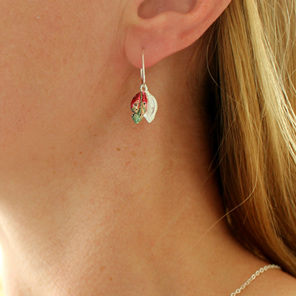Pohutukawa leaf earrings colourful colorful worn sterling silver red green