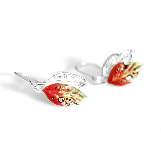 pohutukawa leaf red green gold earrings tiny dainty nature botanical petite