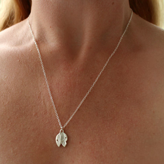 pohutukawa leaf red green gold necklace sterling silver botanical petite