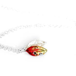 pohutukawa leaf red green gold necklace tiny dainty nature botanical petite