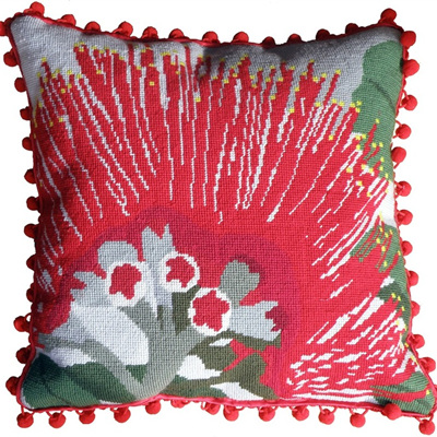 Pohutukawa flower needlepoint kit