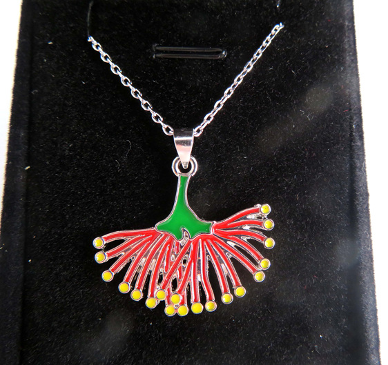 Pohutukawa pendant in a jewellery box