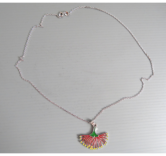Pohutukawa pendant on a silver chain
