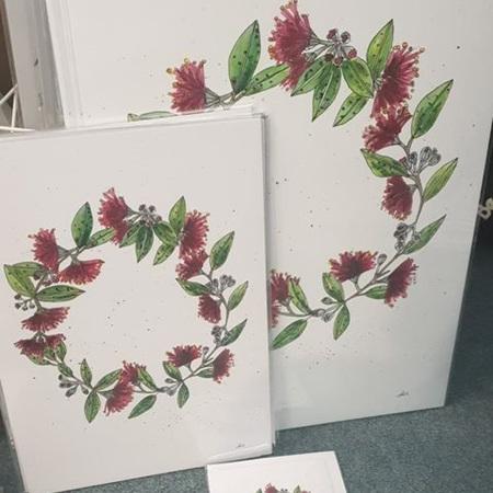 Pohutukawa Wreath A4 Print
