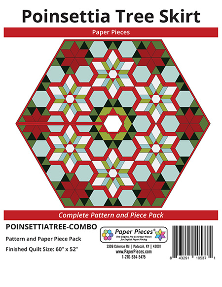 Poinsetta Tree Skirt Pattern and Paper Piece Pack