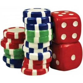 POKER CHIPS & DICE Salt & Pepper