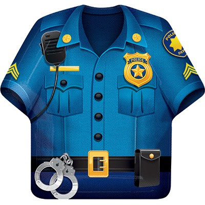 Police Party Dinner Plates Shirt Shaped Paper x 8