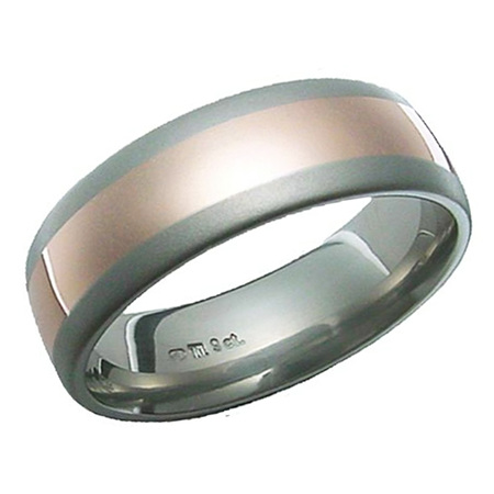 Polished Titanium and Rose Gold Ring