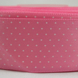 Polka Dot Satin Ribbon x 3 Metres: Candy Pink