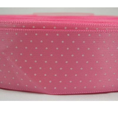 Polka Dot Satin Ribbon x 3 Metres: Candy Pink CLEARANCE