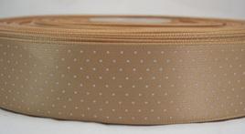 Polka Dot Satin Ribbon x 3 Metres: Latte CLEARANCE