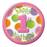 Polka Dots 1st Birthday Girl Party plates x 8