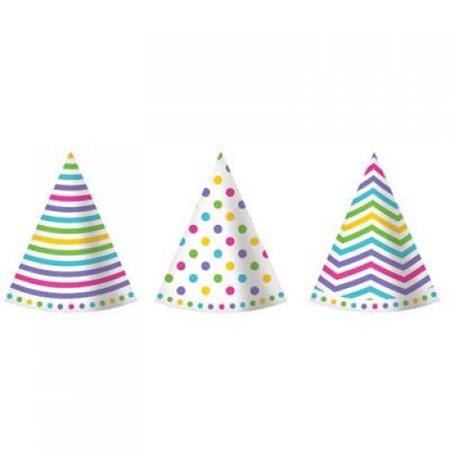 polkadot/stripe hats mixed  x 6