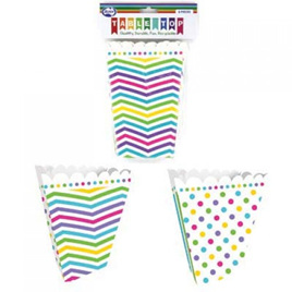 Polka/striped popcorn boxes x 6