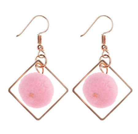POM POM Geometric Earrings - Pink