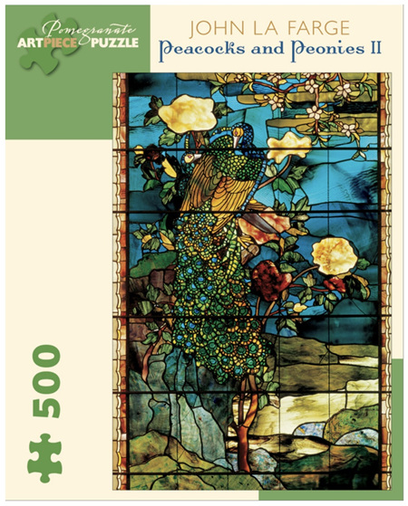 Pomegranate 500 Piece Jigsaw Puzzle  JOHN LA FARGE: PEACOCKS AND PEONIES II