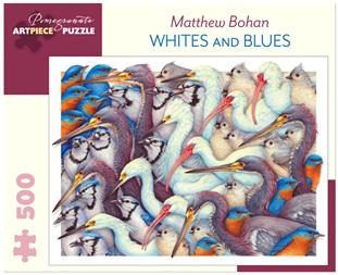Pomegranate 500 Piece Jigsaw Puzzle: Mathew Bohan - Whites & Blues