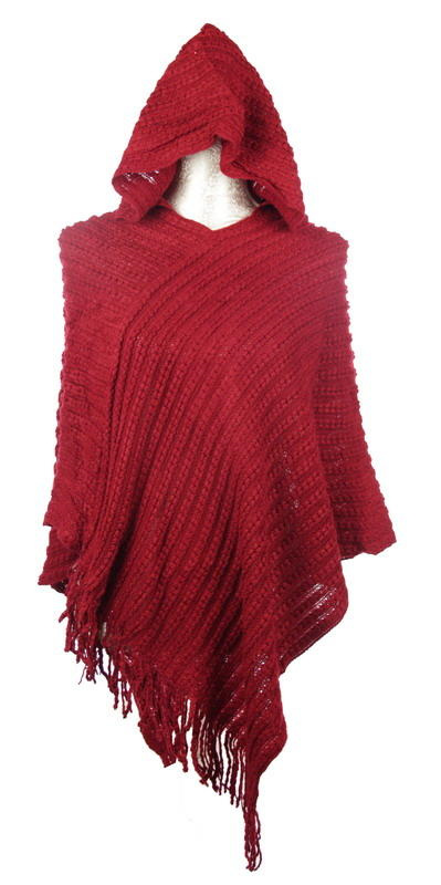 Poncho with Hood: Dark Red
