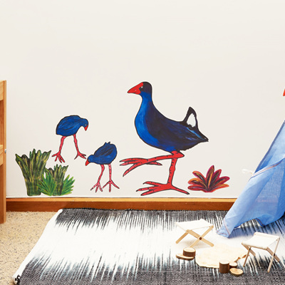 Pooky Pukeko wall decal