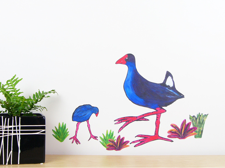 Pooky Pukeko wall decal medium