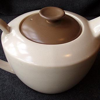 Poole chocolate and pinky fawn tea ware