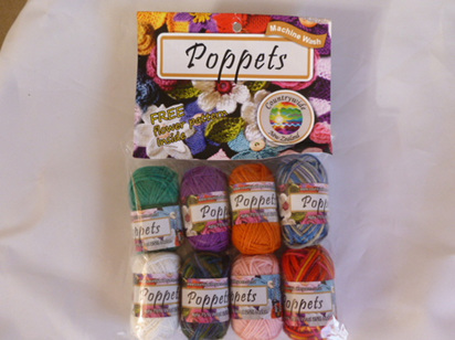 Poppets 8 pack 75% wool 25% nylon with free flower pattern