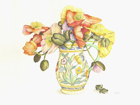 'Poppies in Charlotte Rhead jug' card (large)