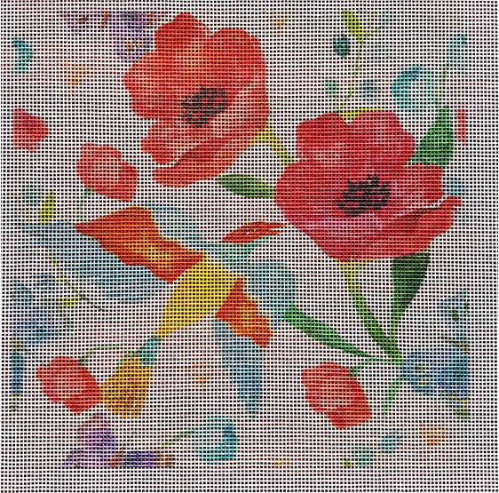 Poppies needlepoint canvas