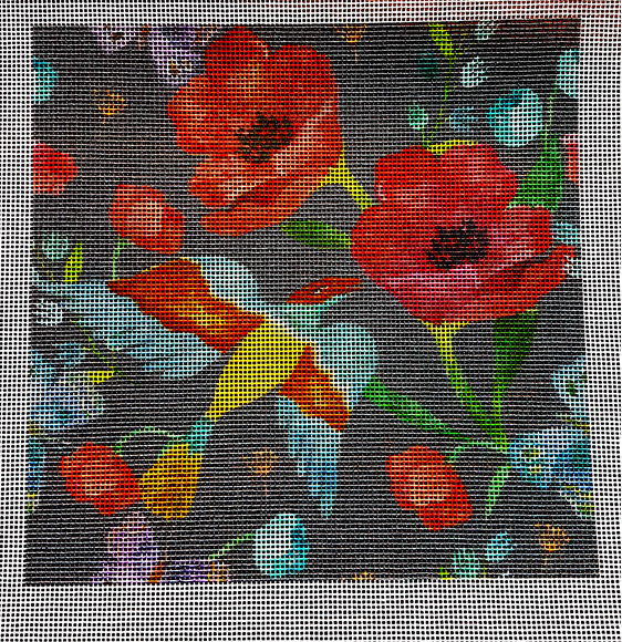 Poppies needlepoint canvas