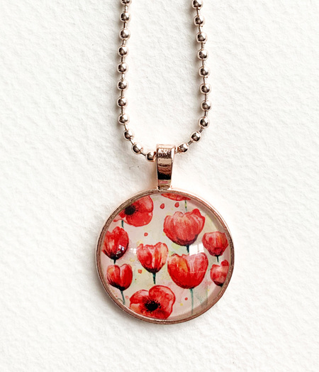 Poppies pendant necklace - rose gold