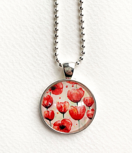 Poppies pendant necklace - silver - NEW!