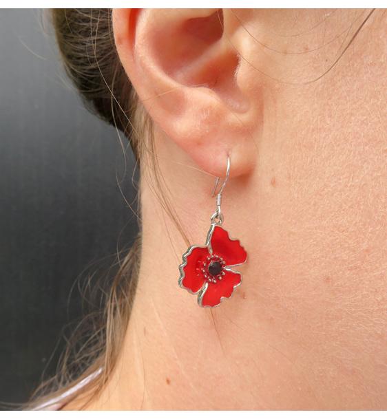 Poppy earrings on sterling silver findings