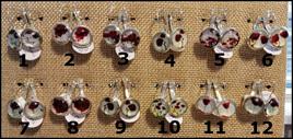 Poppy Glass Dome Hook Earrings