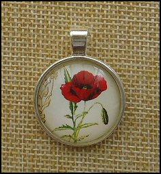 Poppy Glass Dome Key Ring