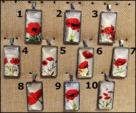 Poppy Glass Dome Rectangle Necklace