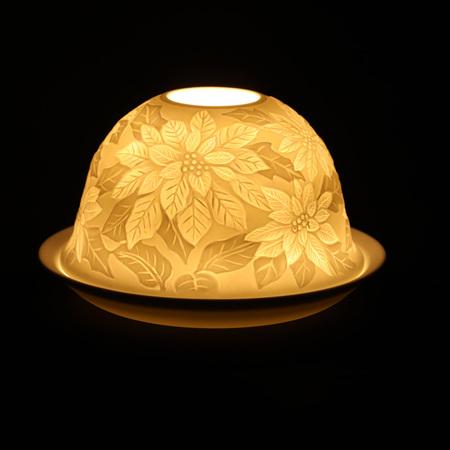 Porcelain Dome Light Poinsettia Bouquet